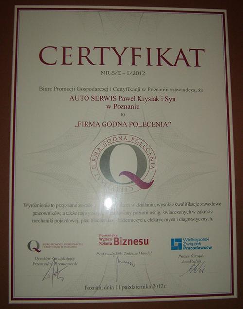 AUTO SERWIS Paweł Krysiak - Certyfikat